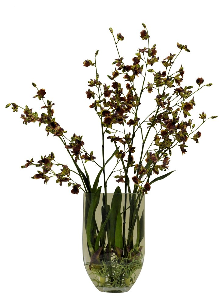 """35"""" Orchid in Planter, Faux"""