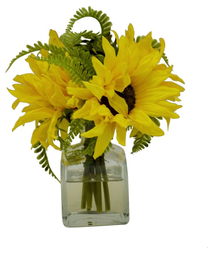 "9"" Sunflower in Vase, Faux"