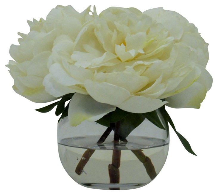 "8"" Peonies in Vase, Faux"