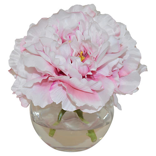 "8"" Peonies in Bowl, Faux"