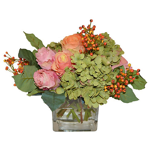 "10"" Roses & Hydrangea Mix, Faux"