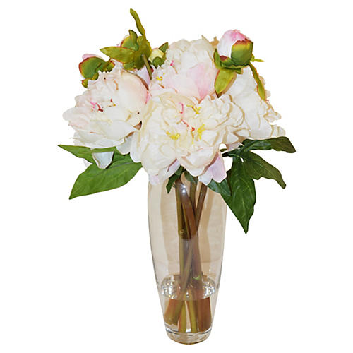 "19"" Peonies in Glass Vase, Faux"