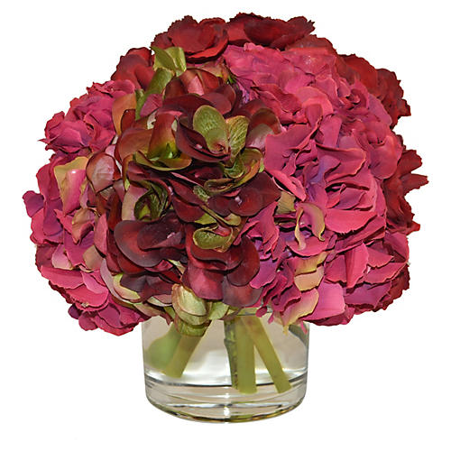 "10"" Hydrangea Mix in Vase, Faux"