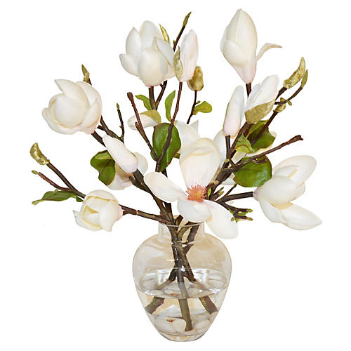 "14"" Magnolias In Glass Vase, White"