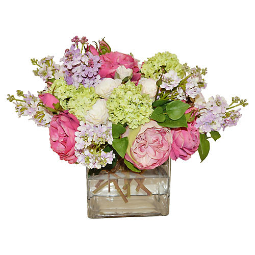 "16"" Roses and Lilacs in Vase, Faux"