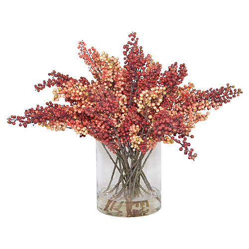 "34"" Red Berries in Vase, Faux"