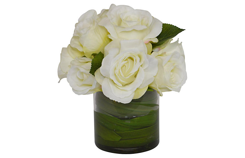 Roses w/ Orchid Foliage in Vase, Faux
