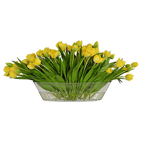 "14"" Yellow Tulips in Boat Vase, Faux"