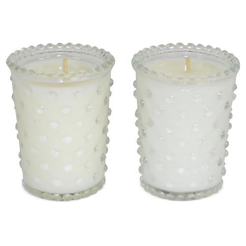 S/2 Hobnail Candles, Lavender