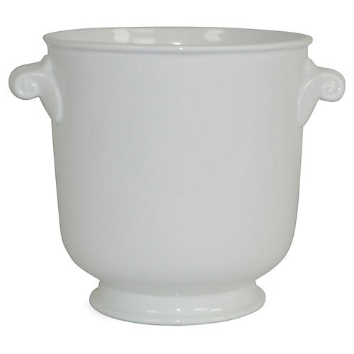 "8"" Solid Round-Handled Planter, White"
