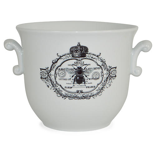 "8"" Royal Bee Scroll-Handled Cachepot, White/Black"