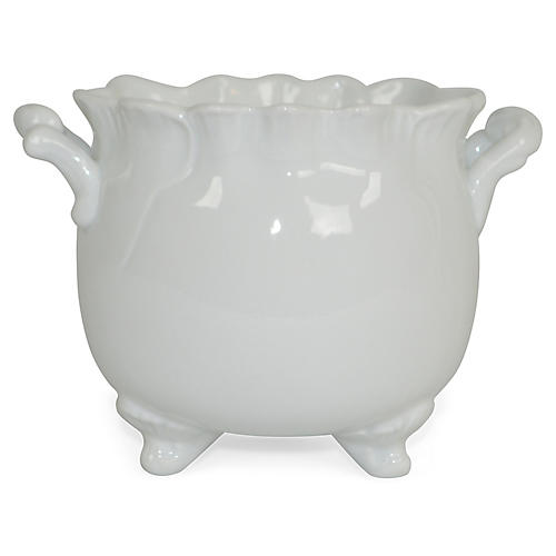 "6"" Solid Footed Planter, White"