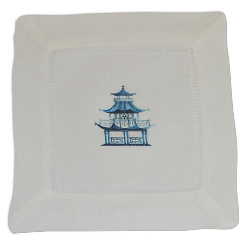 S/4 Pagoda Cocktail Napkins, Blue