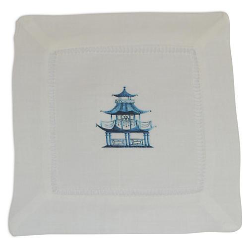 S/4 Pagoda Cocktail Napkins, Blue