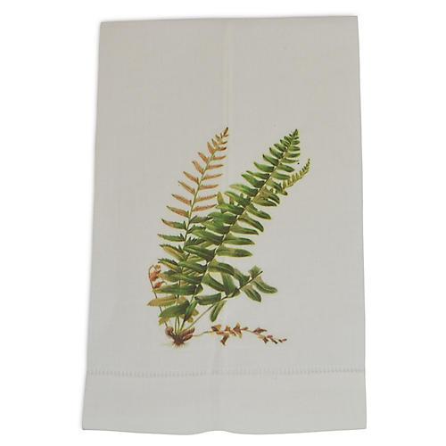 S/2 Shield Fern Guest Towels, Green