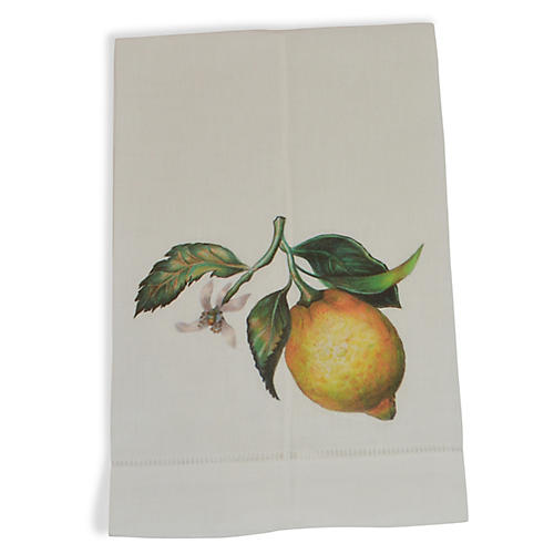 S/2 Lemon Guest Towels, Yellow