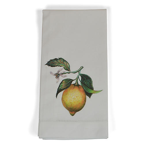 S/4 Lemon Dinner Napkins, Yellow