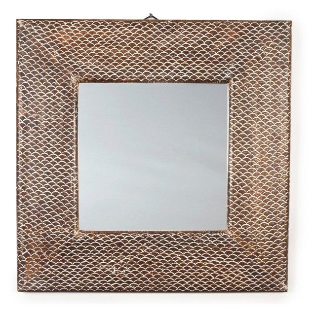 Carved Mango-Wood Mirror