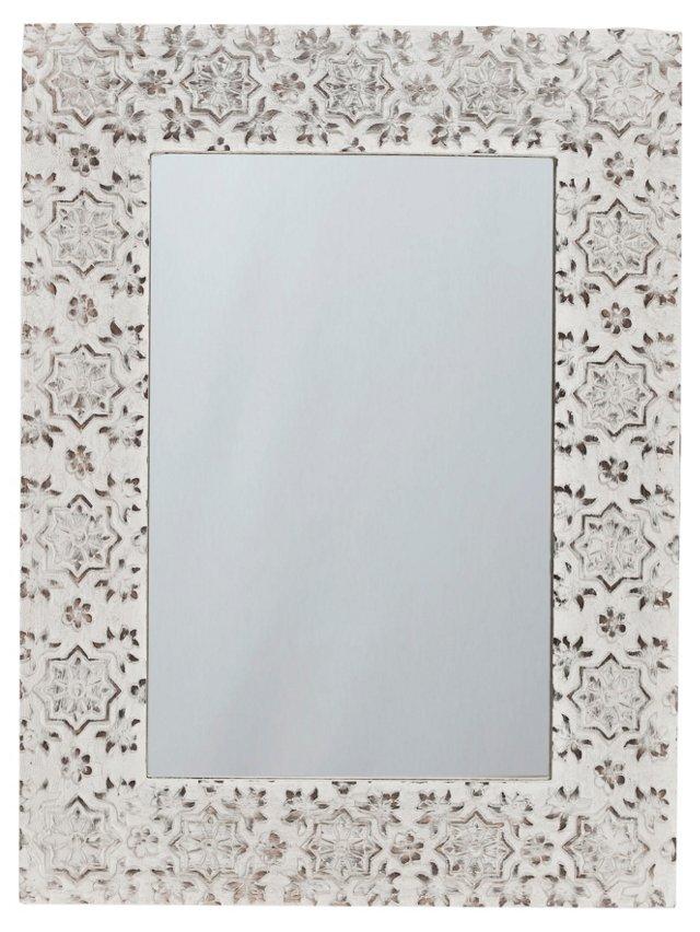 Snowflake Accent Mirror, White