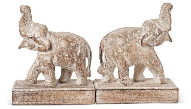 Pair of Elephant Bookends, Whitewash