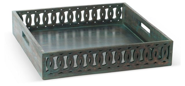 "16"" Fretwork Tray, Green"