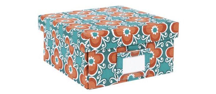 Small Flora Box, Teal