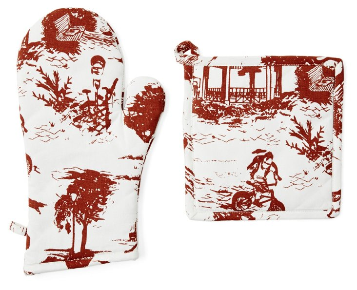 Toile Oven Mitt & Pot Holder, Scarlet