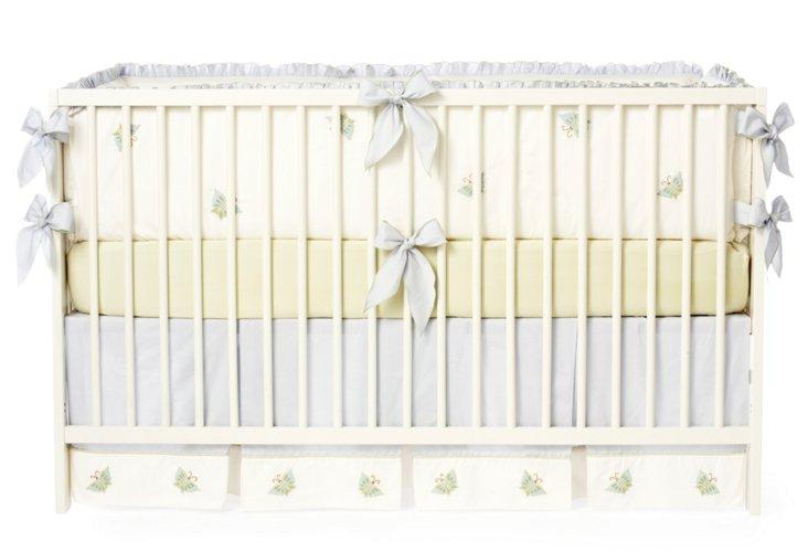 3-Piece Butterfly Knot Crib Set, Green