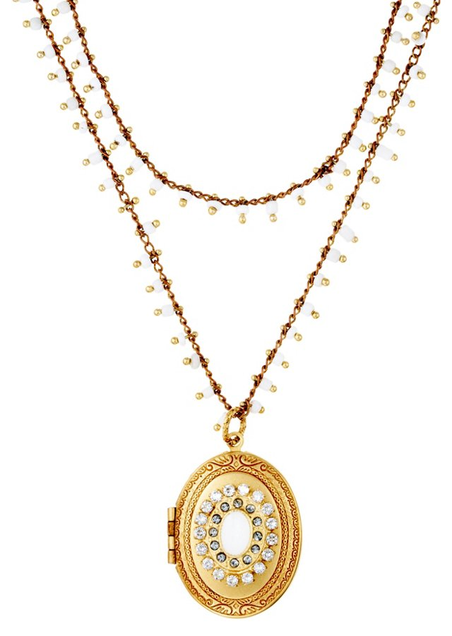White Crystal Floral Locket Necklace
