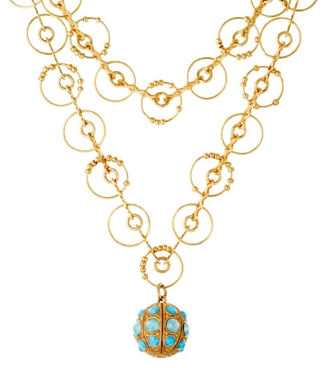 Filagree Ball Necklace, Pacific Opal
