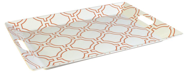 Melamine Cortina Tray, White/Orange