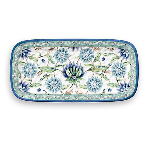 Sikandra Floral Melamine Serving Tray, Blue