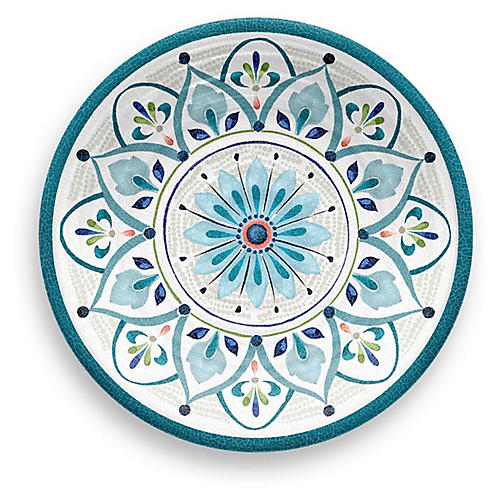 S/12 Moroccan Melamine Salad Plates, Teal