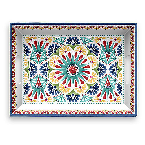 Rio Melamine Serving Tray, Blue