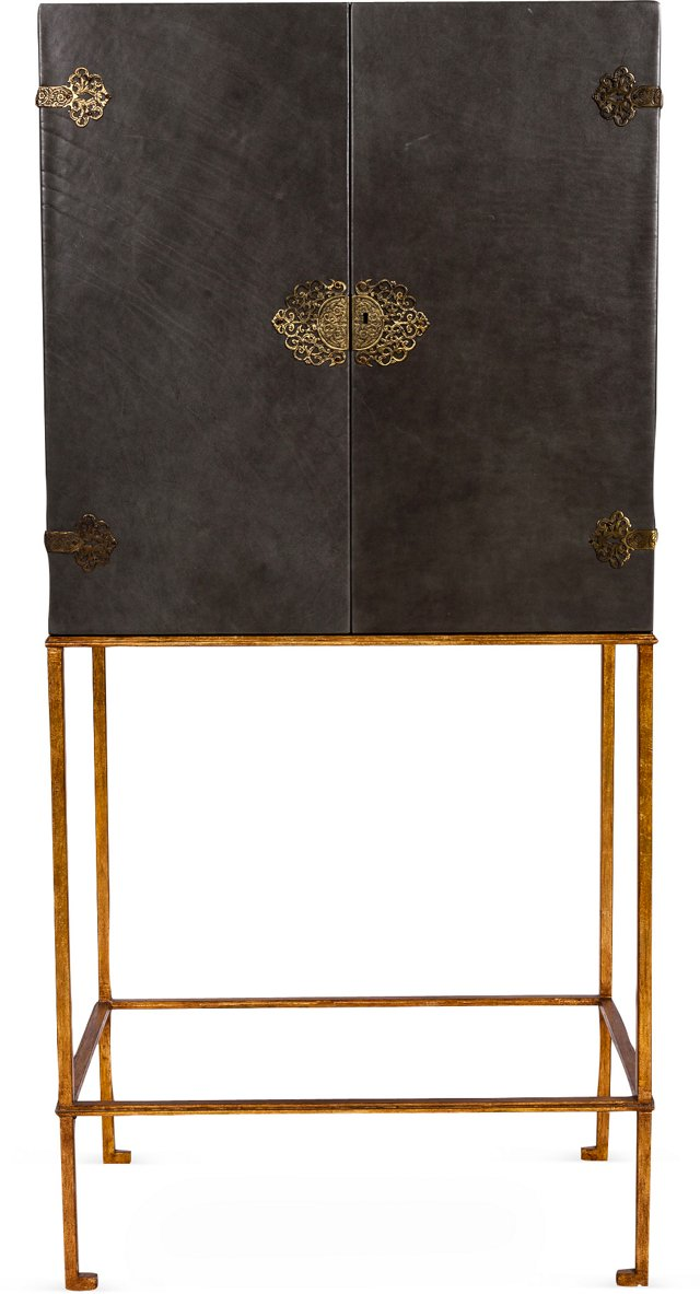 Asian Leather-Wrapped Cabinet