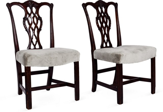 Queen Anne-Style Dining Chairs, Pair