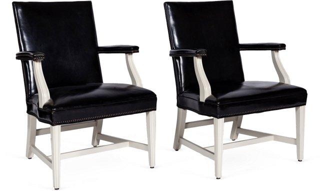 Vintage Leather Armchairs, Pair
