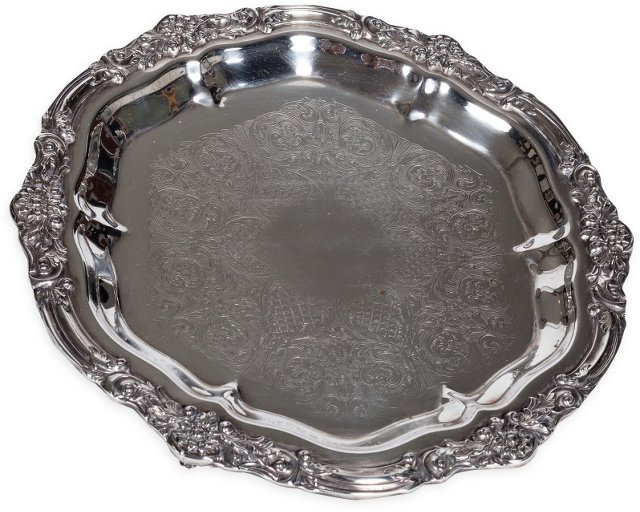 Footed Silverplate Tray