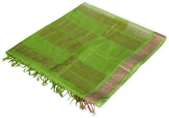 Apple-Green Silk Sari