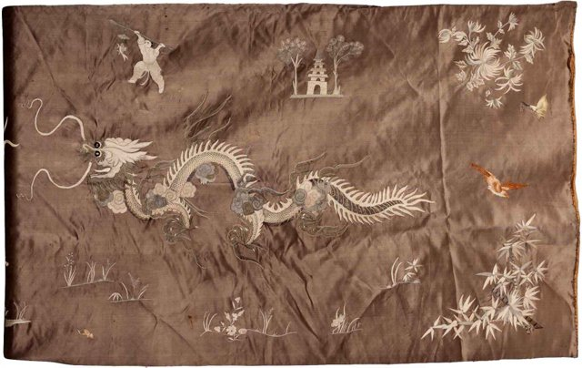 19th-C. Asian Embroidered Silk Panel