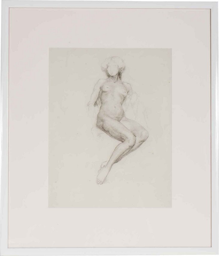 Framed Pencil Drawing, Nude