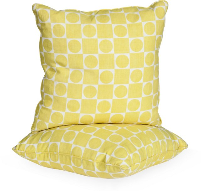 Raoul Circle Square Print Pillows, Pair