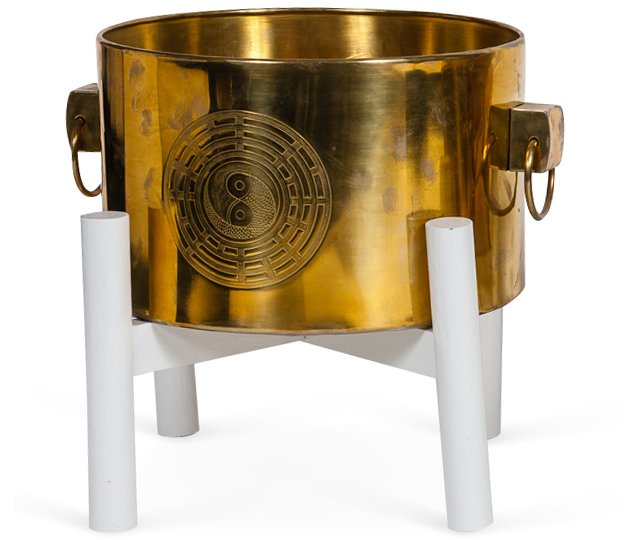Asian Brass Planter on Stand