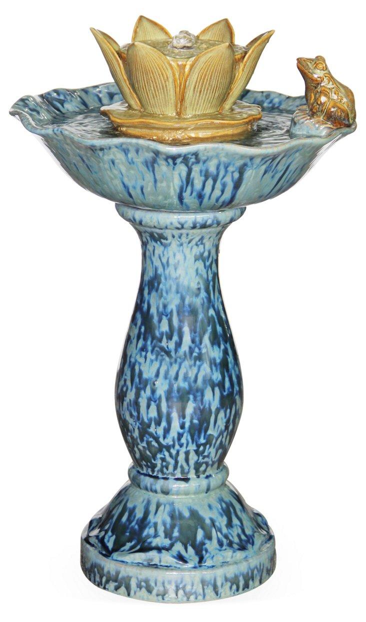 """26"""" Birdbath Fountain w/ Pump, Blue"""