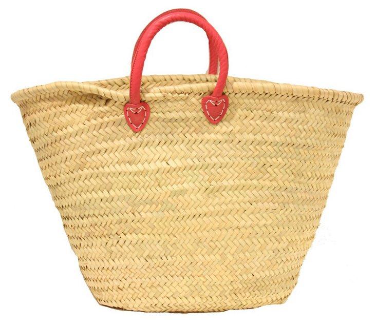 Large Palm-Leaf Basket, Magenta