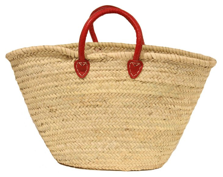 Large Palm-Leaf Basket, Red