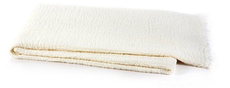 Monaco Linen Throw, Ivory