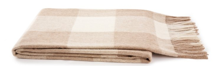 Riga Alpaca-Blended Throw, Ivory/Beige
