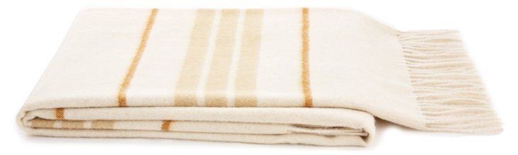 Striped Alpaca-Blended Throw, Ivory