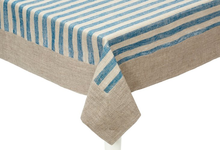 Serenite Stripe Tablecloth, Teal